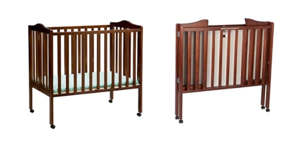 baby crib with wheels that folds up out of the way