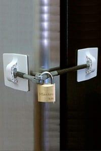 Child proof padlock fridge handle