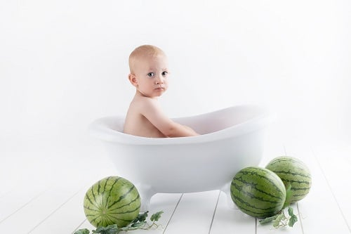 naked baaby with watermelon