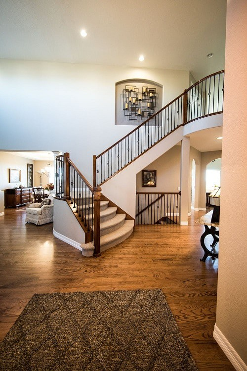 wooden floor with stair