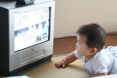 Baby is watching tv