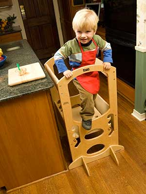 Baby proof adjustable step stool for kitchen