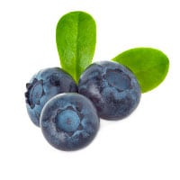 3 blueberries with a leaf
