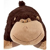 Brown baby monkey plush that turns into a pillow