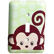 Green monkey light switch cover