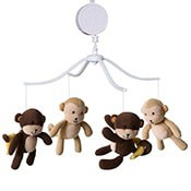 Baby monkey mobile for nursery which play music