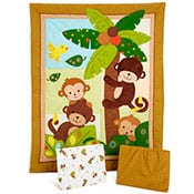 Monkey themed baby crib bedding for nursery