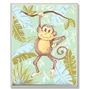 Painted brown monkey hanging from a branch wall art