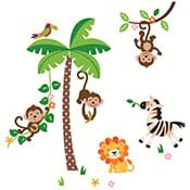 Monkey themed wall decal for baby nursery featuring lion and zebra