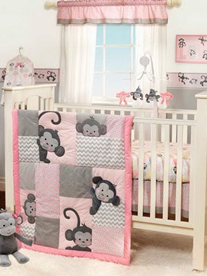 Pink and grey monkey themed baby girl nursery