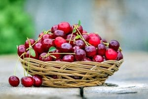 Cherry on a basket