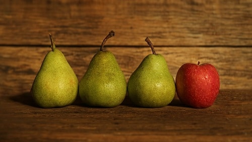 3 green pears and one apple