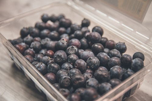 blueberries on clear plastic case
