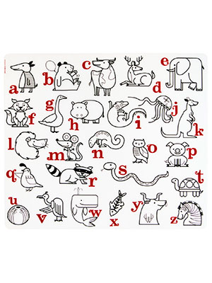 Baby placemat with letters and animals