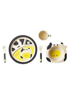 cow themed baby meal set