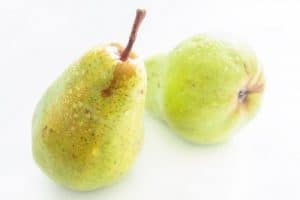 two yellow-green pear