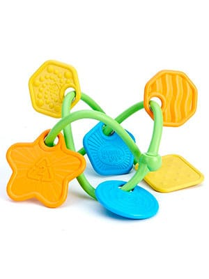 Green toys twist baby teether made from recoiled plastic