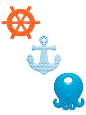 Suri the octopus and friends nautical teether set with ship wheel and anchor