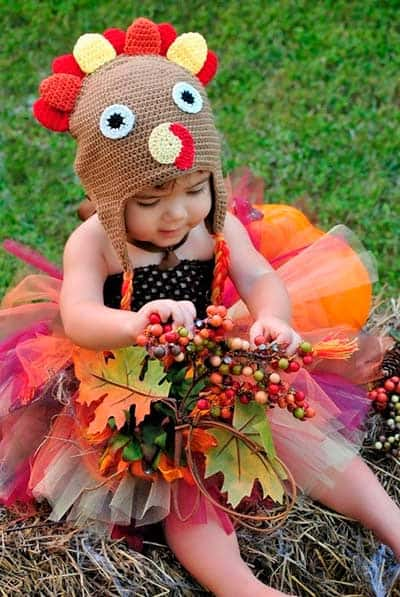 Thanks giving turkey halloween costume for girls with tutu