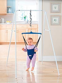 baby bouncing in a frame baby jumper