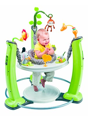 stationary baby jumper with activity tray and toys