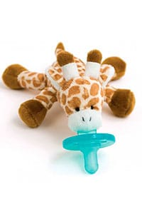 giraffe plush toy and blue pacifier