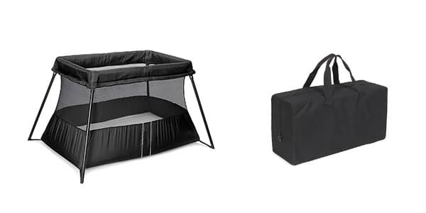 baby travel crib and the bag it folds up into