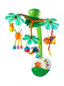 jungle animal musical mobile for baby crib featuring giraffe monkey and osterich