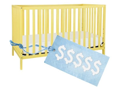 yellow baby crib with price tag attached