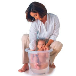 baby bath bucket with mother washing baby