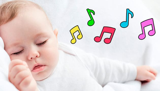 sleeping baby with musical notes from sound