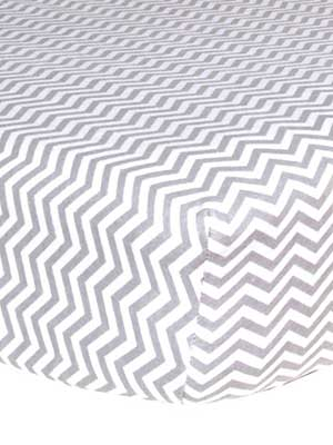 best flannel crib sheet for baby with gray zig-zag stripes