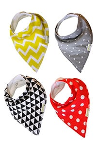 baby drool bib four pack in bandana style
