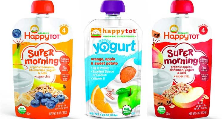 Happy Tot Organic Greek yogurt smoothie pouch for toddlers