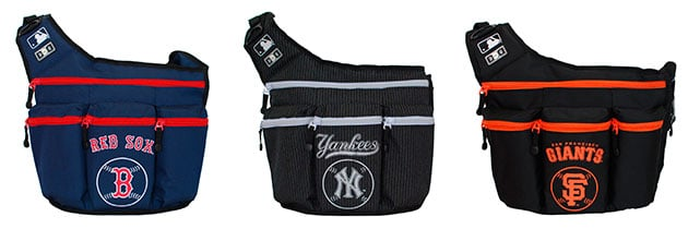 dad diaper bag with baseball team logo