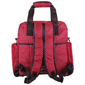 padded straps of a red backpack diaper bag