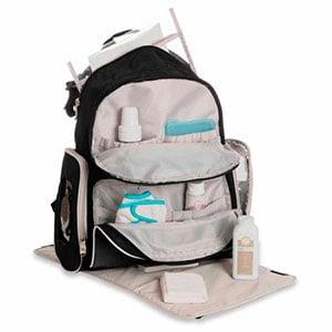 backpack diaper bag wide open revealing pockets