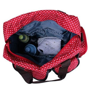 red large convertible diaper backpack with zipper open - ecosusi