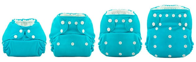 adjusting a one size cloth diaper to fit a growing baby