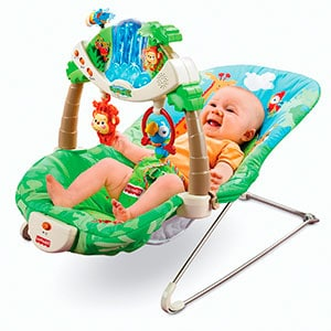 baby sitting in an activity baby bouncer