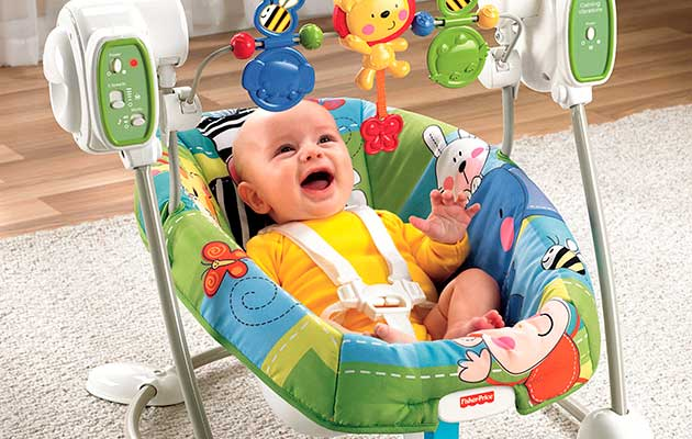 baby swing in action - happy baby swinging