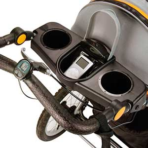 jogging stroller optional features - speakers, cup holders and pedometer