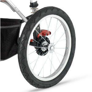 jogging stroller wheel with metal spokes