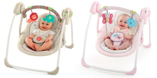 portable baby crib in different colors - pink and brown with happy babies