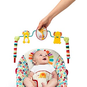 removing the toy bar of a baby bouncer