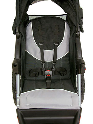 seat of a jogging stroller - harness and padding