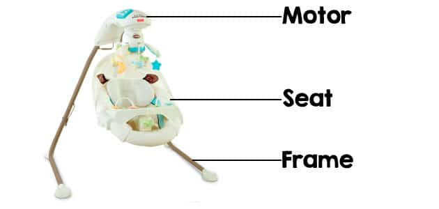 full sized baby swing parts - motor, seat and stand