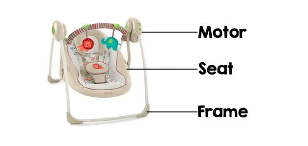 small portable baby swing parts - frame, seat and motor