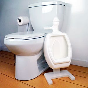 standing potty training urinal next to toilet