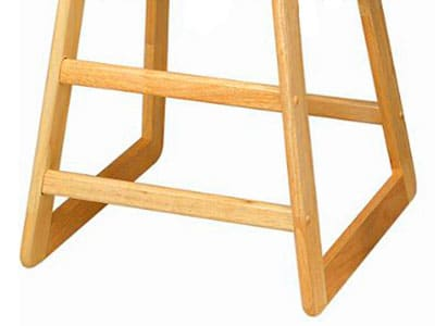 the base of a wooden high chair